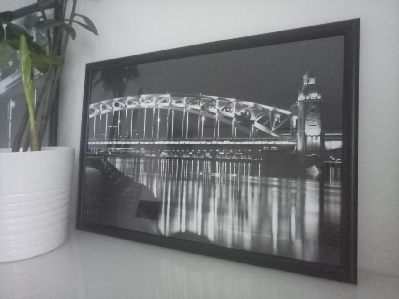 Большеохтинский мост, чёрно-белая фотография. 22 декабря 2019 года
