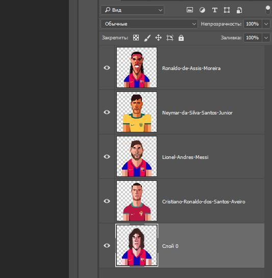 5 футболистов в слоях по центру